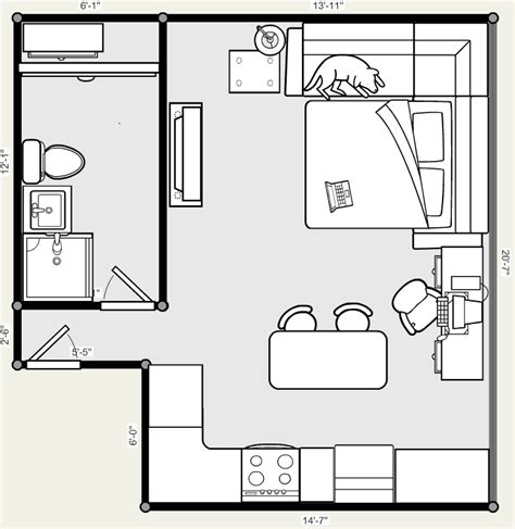 studio apartment floor plan by x