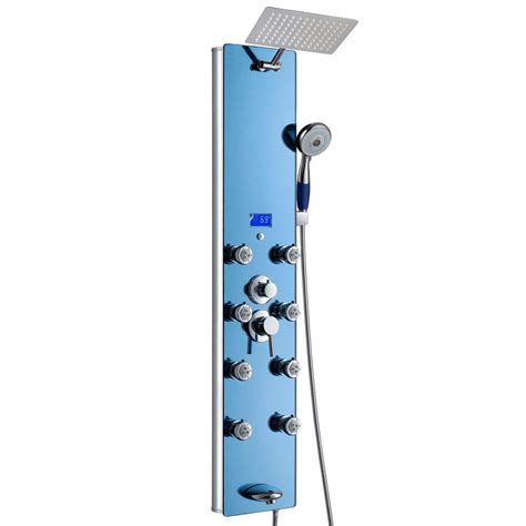 Shower Jet System by Akdy 52 In 8 Jet Shower Panel System In Blue Tempered