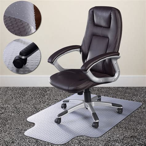 pvc home office chair floor mat studded back with lip for standard pile carpet ebay