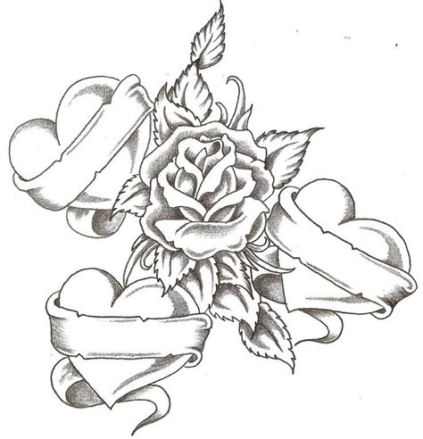 coloring pages  roses  hearts coloring home