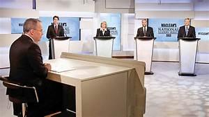 Canada's Liberal leader Justin Trudeau (2nd L), Green ...