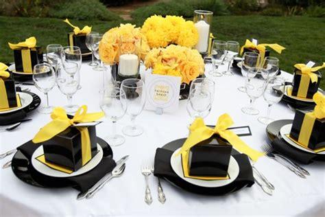 table setting blackwhiteyellow party ideas