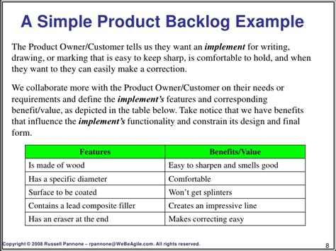 product backlog template creating a product backlog