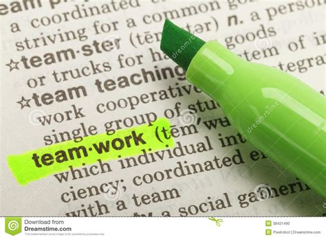 Teamwork Definition Stock Photo. Image Of Full, Helping