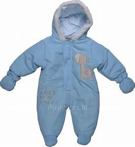 Baby Boys Soft & Cosy Blue Snowsuit Growing Giraffe ...