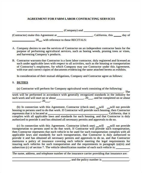 contract labor contract form 38 sle free contract forms
