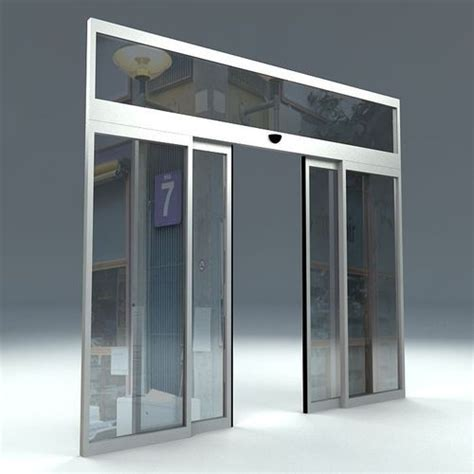 automatic sliding glass doors automatic sliding door 3d model cgtrader