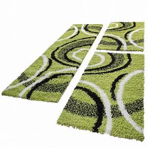 Teppich Läufer Grün : bettumrandung l ufer shaggy hochflor teppich gemustert gr n l uferset 3 tlg alle teppiche ~ Whattoseeinmadrid.com Haus und Dekorationen