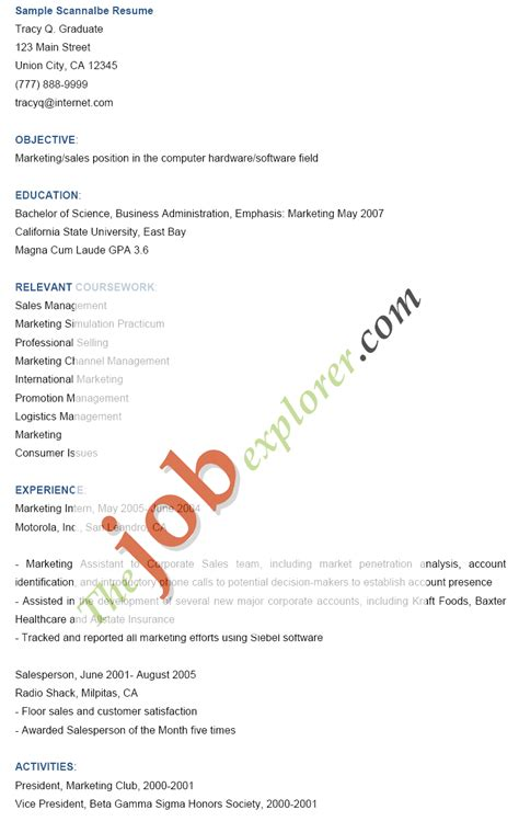 Electronic Resume Scanning Keywords electronic resume scannable resume text only resume