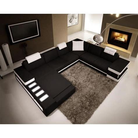discount canapé cuir canapé d 39 angle panoramique en cuir noir et blanc achat