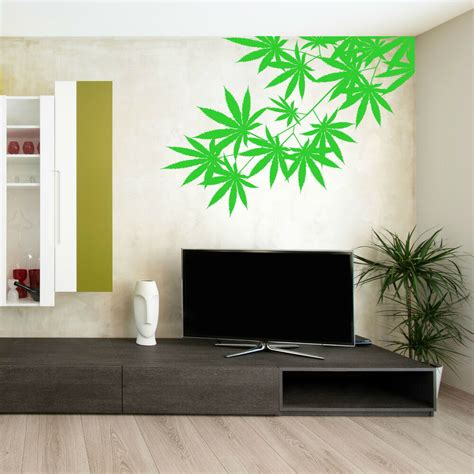 cannabis tree leaf plant weed vinyl wall art sticker room