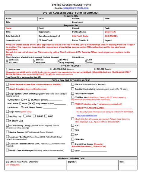 Internet Access Request Form Template by Access Request Form Templates