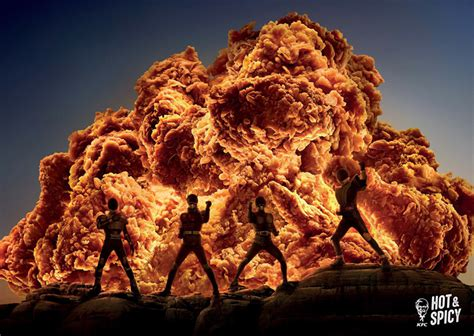 clever kfc ads perfectly replaced fire  spicy fried