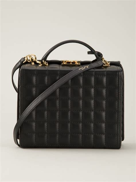 mark cross large grace quilted box bag  black lyst