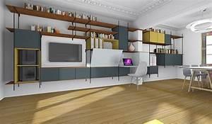 changer creer des rangements et un bureau dans un salon With meuble de salle a manger avec creer sa cuisine