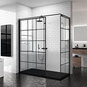 Salle De Bain Style Atelier : paroi de douche italienne style atelier en noir mat ~ Teatrodelosmanantiales.com Idées de Décoration