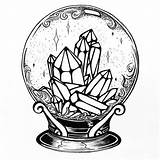 Tattoo Drawings Crystal Ball Tattoos Witch Witchy Mandala Magic Drawing Coloring Sketches Believe Yes Arm Grey Dessin Theme Noemi Wicca sketch template