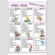 Free Time Speaking Cards Worksheet  Free Esl Printable Worksheets Made By Teachers