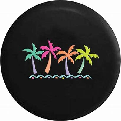 Tire Jeep Tropical Palm Trees Spare Vacation