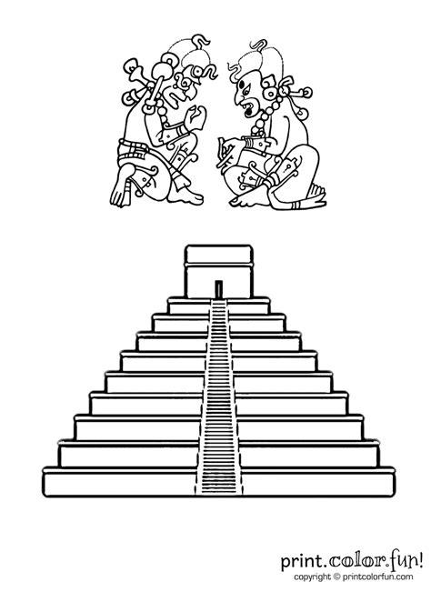 mayan pyramid coloring page print color fun