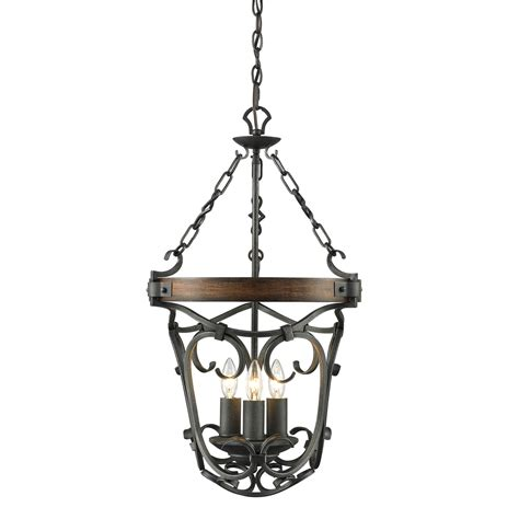 Golden Lighting Madera Black Iron Three Light Pendant 1821