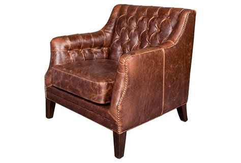 tufted leather club chair brown from one