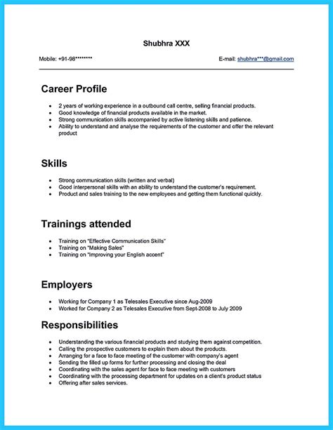 Call Center Objectives by Sle Resume Call Center No Work Experience