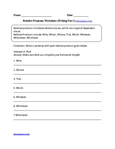 4th grade common language worksheets