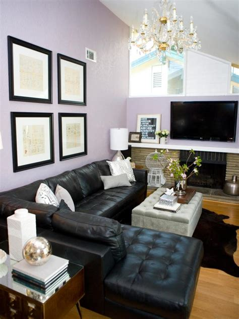 transitional living room  leather sectional hgtv