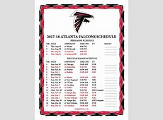 Printable 20172018 Atlanta Falcons Schedule