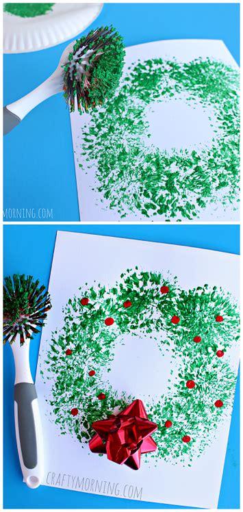dish brush wreath craft easy christmas craft  kids