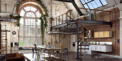 canapé maison loft industriel en 3d par quattro studio