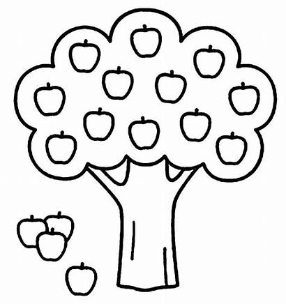 Preschool Coloring Pages Tree Apple Easy Fall
