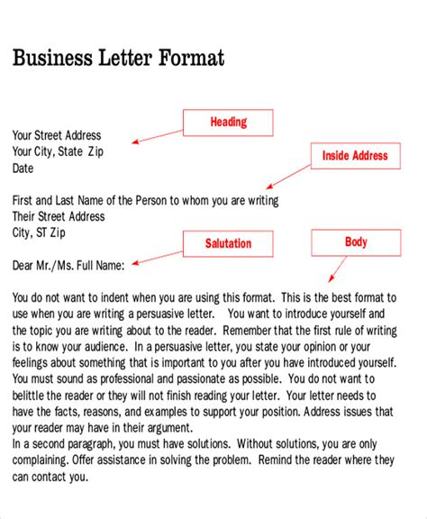 sample persuasive business letter  examples  word