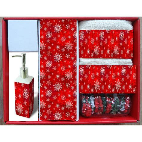 carnation home fashions holiday snow  piece shower