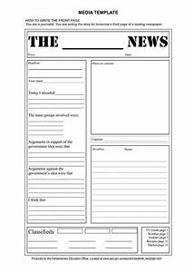 Free tag template newspaper front page template doc for Free printable newspaper template for students