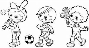 Ausmalbild Sport Sportliche Jungen Kostenlos Ausdrucken
