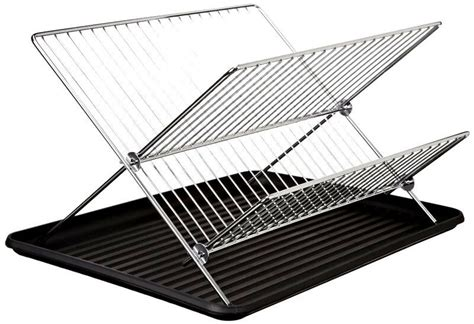 tiers chrome stainless steel folding dish drying rack drainer dryer tray plat ebay