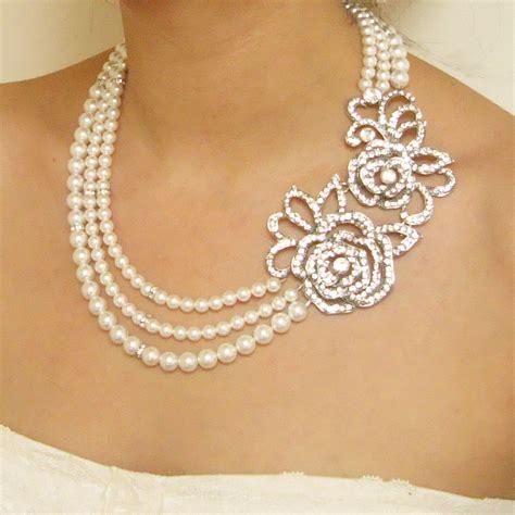 statement pearl wedding bridal necklace vintage style rose