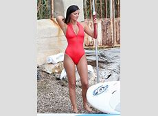 Lucy Mecklenburgh in Red Swimsuit Paddleboarding in