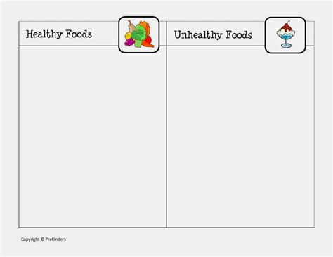 healthy food healthy and unhealthy food worksheet