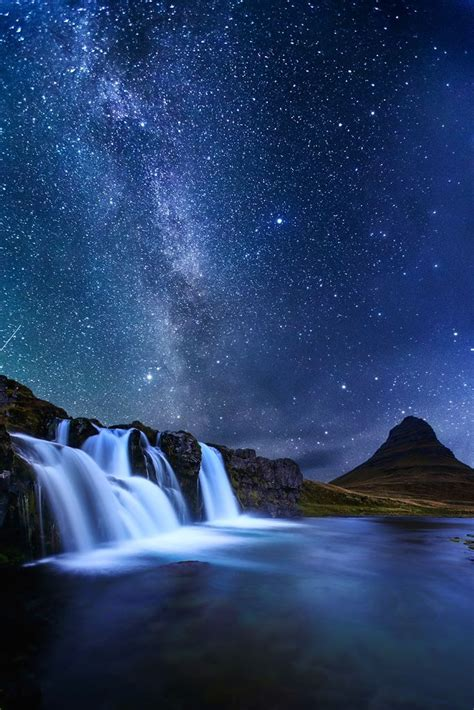 Milky Way Over Kirkjufellsfoss Waterfall And Kirkjufell