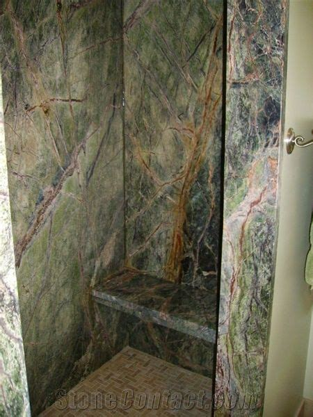 rain forest green marble shower  united states stonecontactcom