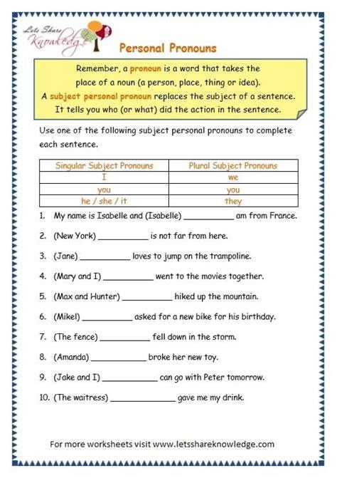 grade  grammar topic  personal pronouns worksheets