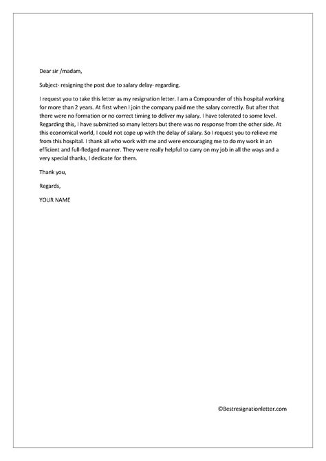 resignation letter   salary  resignation letter