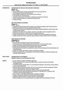 Mechanical Engineering Resume Sample Test Design Engineer Resume Samples Velvet Jobs
