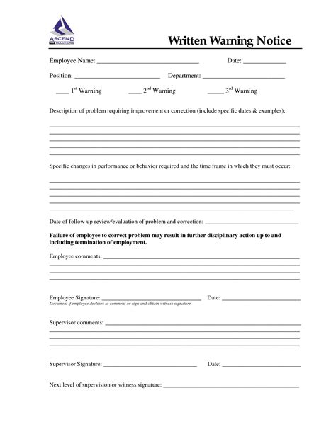 written warning template 10 best images of written notice template writing notice format written warning template and