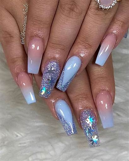 Nails Coffin Acrylic Glitter Snow Within Flower