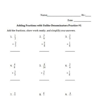 adding fractions with unlike denominators practice worksheet tpt