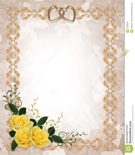 Wedding Invitation Yellow Roses Stock Illustration